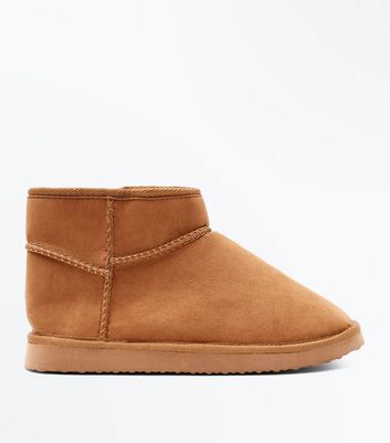 Tan Faux Shearling Lined Pull On Boots