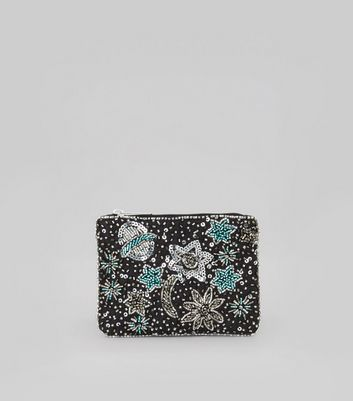 Black Beaded Moon and Stars Coin Purse