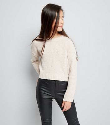 Teenager – Rosafarbener, kastenförmiger Pullover in Metallic-Optik