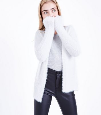 Teens Cream Faux Angora Oversized Cardigan