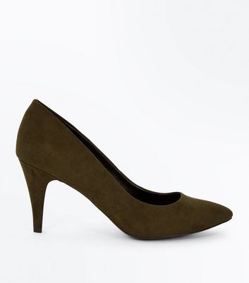 Khaki Suedette Cone Heel Court Shoes