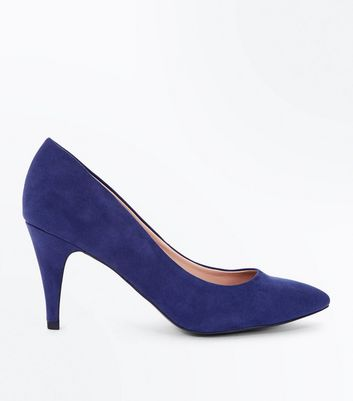 Navy Suedette Cone Heel Court Shoes