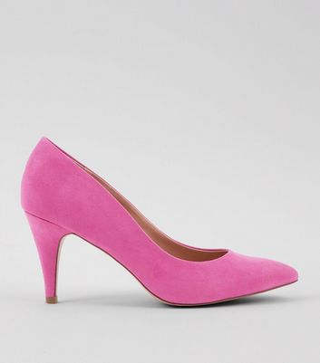 Bright Pink Suedette Cone Heel Court Shoes