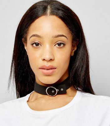 Black Suedette Belt Buckle Choker
