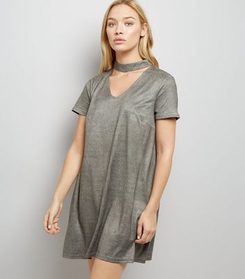 Grey Suedette Choker Neck Dress