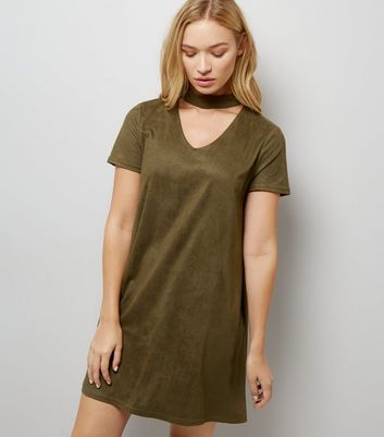 Khaki Suedette Tunic Dress