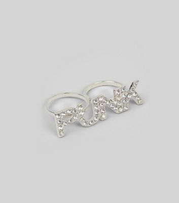 Silver Crystal Punk Double Ring