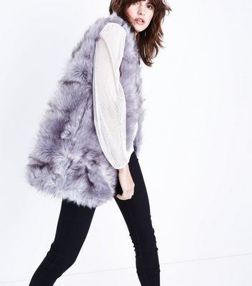 Cameo Rose Grey Faux Fur Gillet