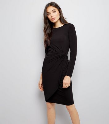 Black Ruche Side Bodycon Dress