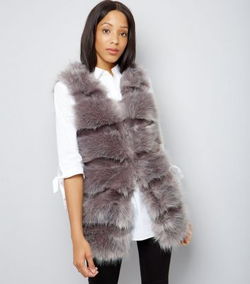 Cameo Rose Grey Faux Fur Gilet