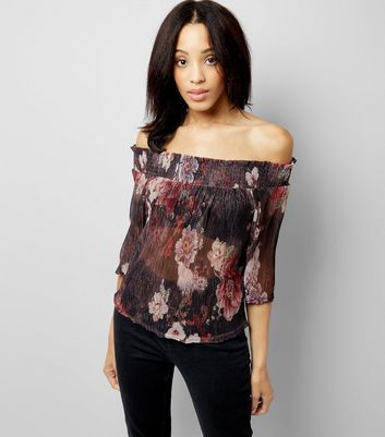 Black Floral Print Metallic Detail Bardot Neck Top