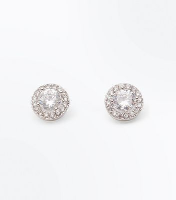 Silver Cubic Zircona Round Stud Earrings