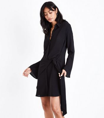 Black Tie Side Flared Sleeve Shirt Dress
