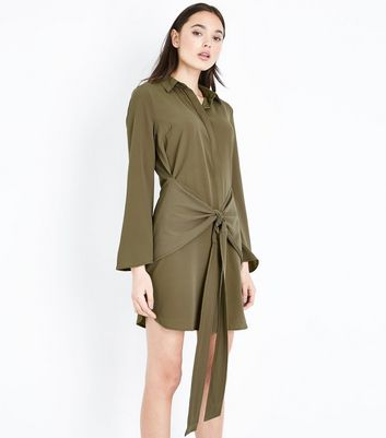 Khaki Tie Front Chiffon Shirt Dress