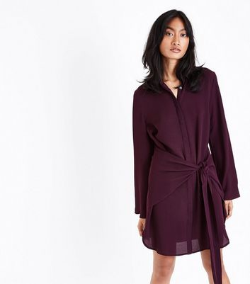 Burgundy Tie Front Chiffon Shirt Dress