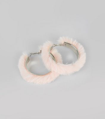 Pink Faux Fur Hoop Earrings