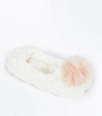White Faux Fur Pom Pom Ballet Slippers