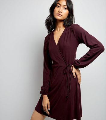 Burgundy Jersey Wrap Dress