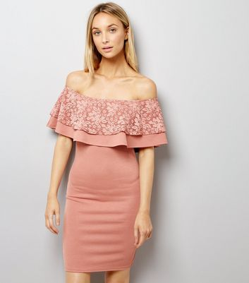 Pink Lace Frill Trim Bardot Neck Bodycon Dress