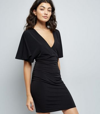 Black Batwing Sleeve Lattice Back Bodycon Dress