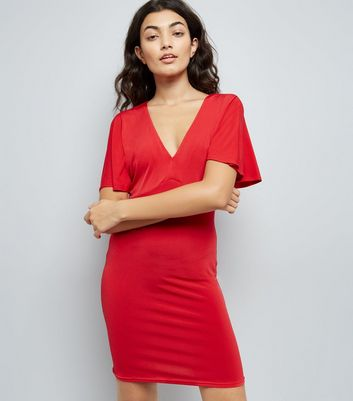 Red Batwing Sleeve Lattice Back Bodycon Dress