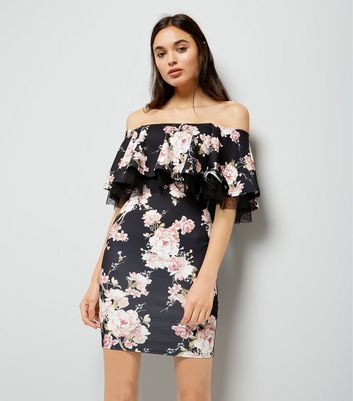 Black Floral Print Frill Bardot Neck Bodycon