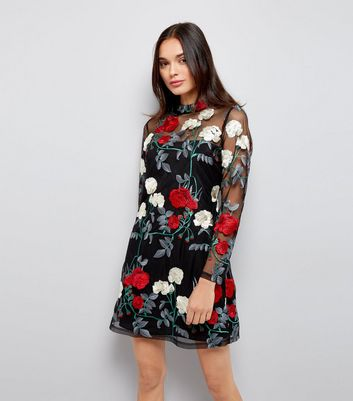 Black Premium Floral Embroidered Mesh Dress