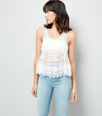 White Lace Crochet Swing Vest