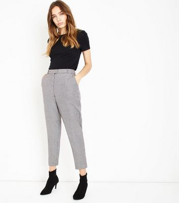 Black Houndstooth Tapered Trousers