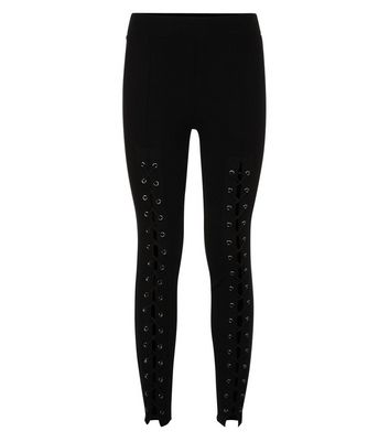 Black Eyelet Lace Up Front Leggings