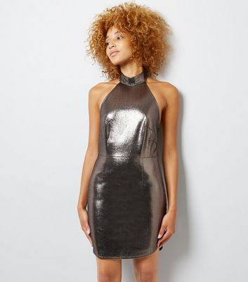 Chrome Metallic Halterneck Bodycon Mini Dress