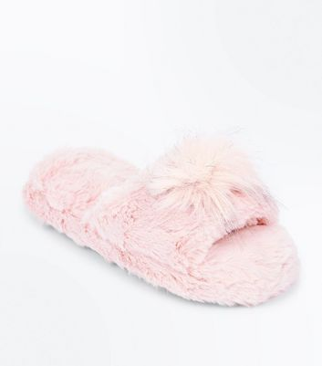 Pink Pom Pom Faux Fur Slider Slippers