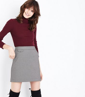 Brown Check Pocket Front A-Line Mini Skirt