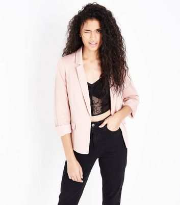 Shell Pink Rolled Sleeve Blazer