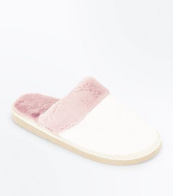 White Contrast Trim Mule Slippers