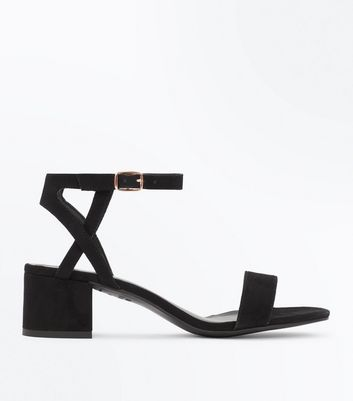 Teens Black Suedette Block Heel Sandals