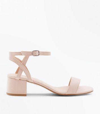 Teens Cream Suedette Block Heel Sandals by New Look