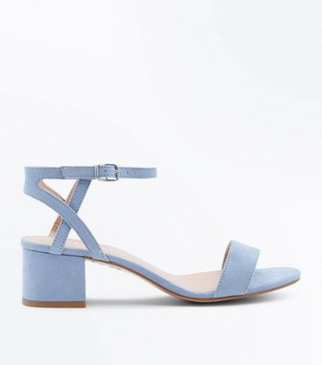 Girls Pale Blue Suedette Block Heel Sandals