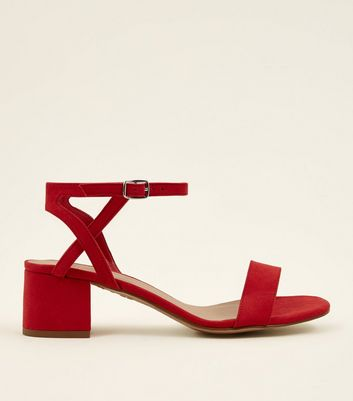 Girls Red Suedette Block Heel Sandals