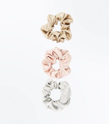 3 Pack Pink Gold and Silver Satin Scrunchies
