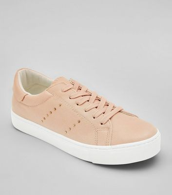 Pink Stud Side Lace Up Trainers