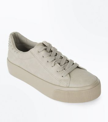 Grey Stud Back Chunky Sole Trainers