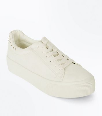 Cream Stud Back Chunky Sole Trainers