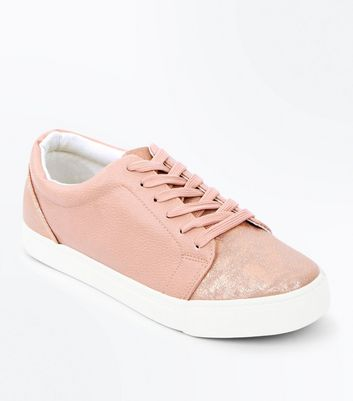 Pink Metallic Panel Lace Up Trainers