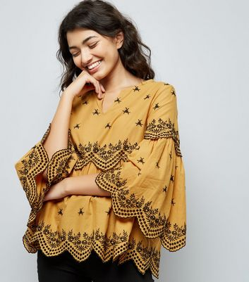 Rust Embroidered Wide Sleeve Smock Top