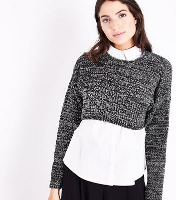 Black Marl Cropped Jumper