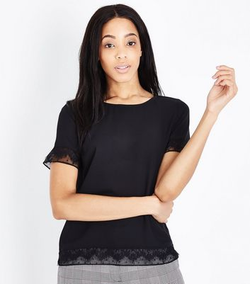 Black Lace Trim Short Sleeve T-Shirt