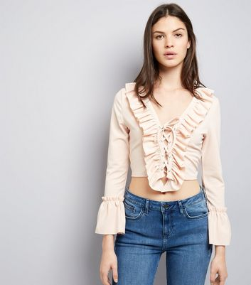 Cameo Rose Shell Pink Lace Up Frill Trim Crop Top