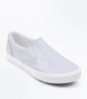 Silver Shimmer Slip On Trainers