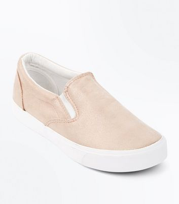 ... Rose Gold Shimmer Slip On Trainers